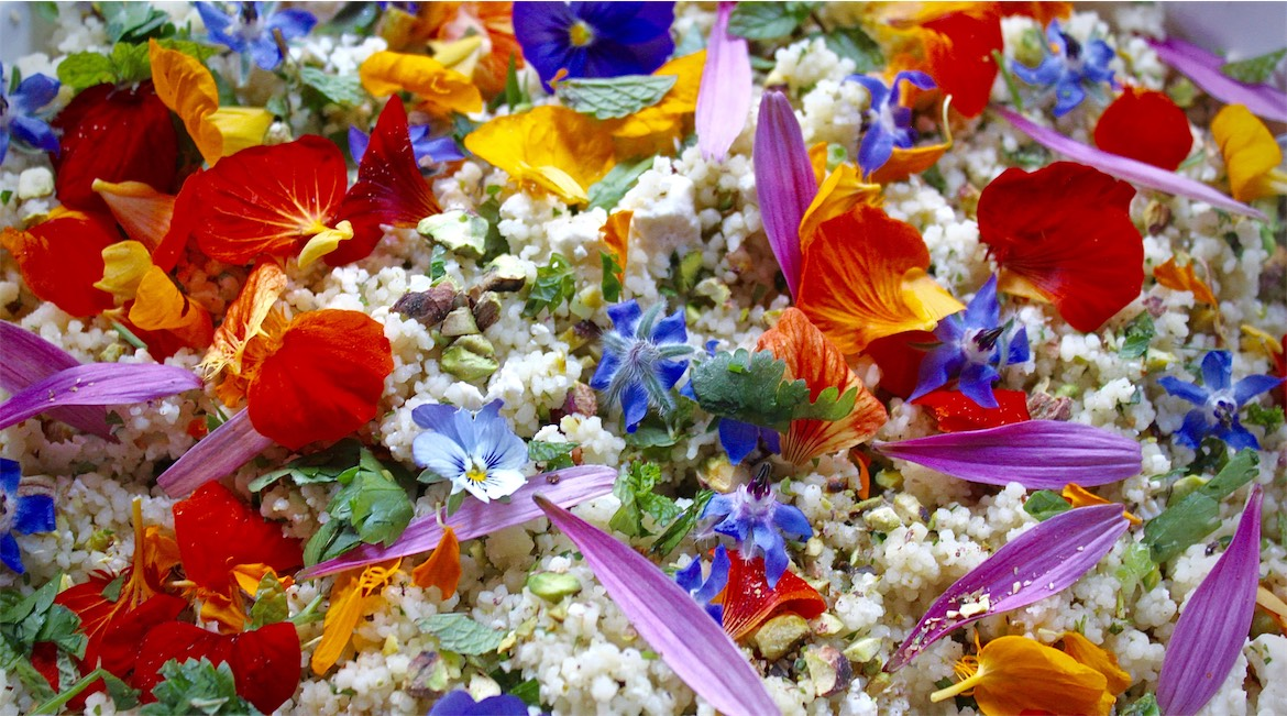 Edible flower couscous.