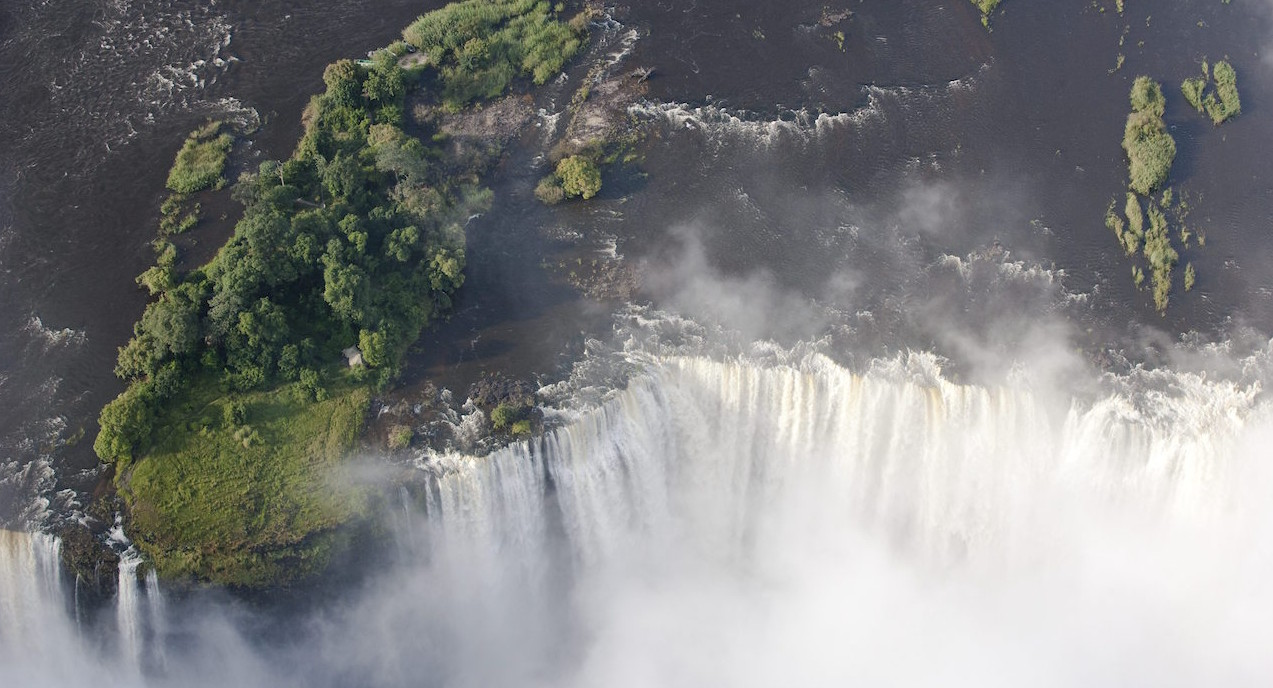 Livingstone Island on the edge of Victoria Falls. Photo credit: Tongabezi Lodge.