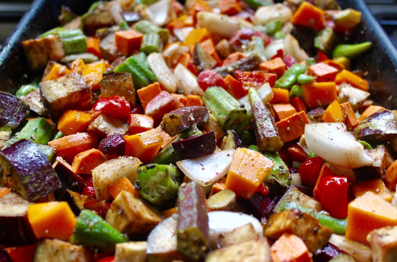 Homegrown vegetables prepared for roasting.
