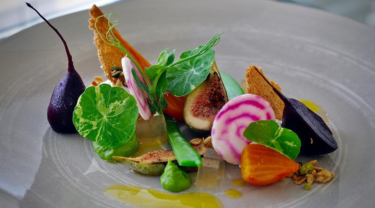 Summer Beetroot Salad with Ewe's Milk Curd, Figs, Truffled Honey, Pistachio Crumbs & Beer Dressing.