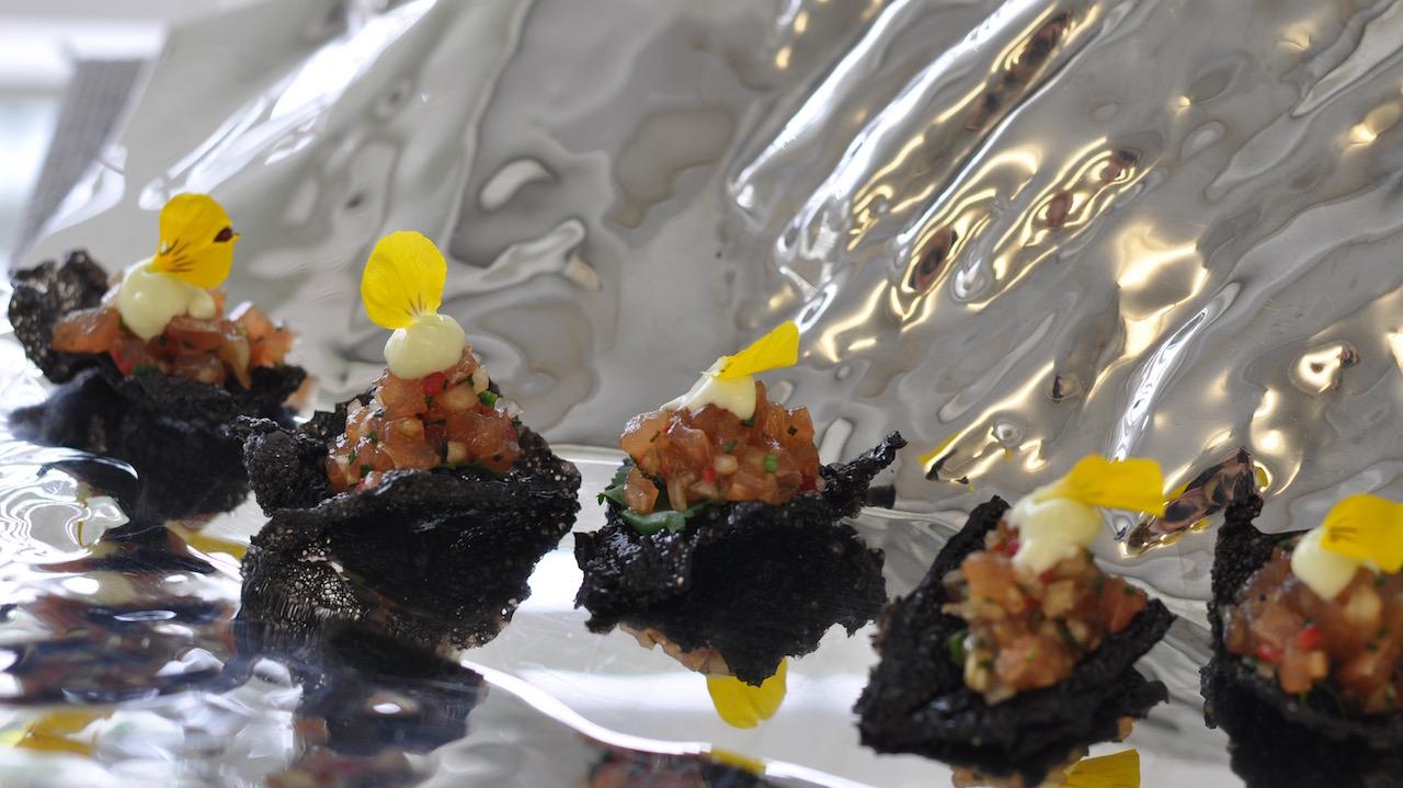 Spiced Tuna Tartare with Cuttlefish Crackers.