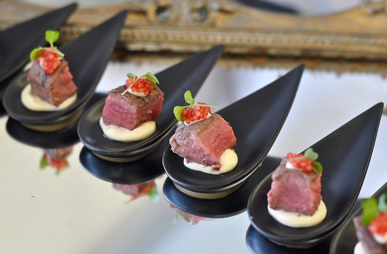 Slow-cooked Beef Fillet, Mustard Egg Emulsion & Spiced Caviar.