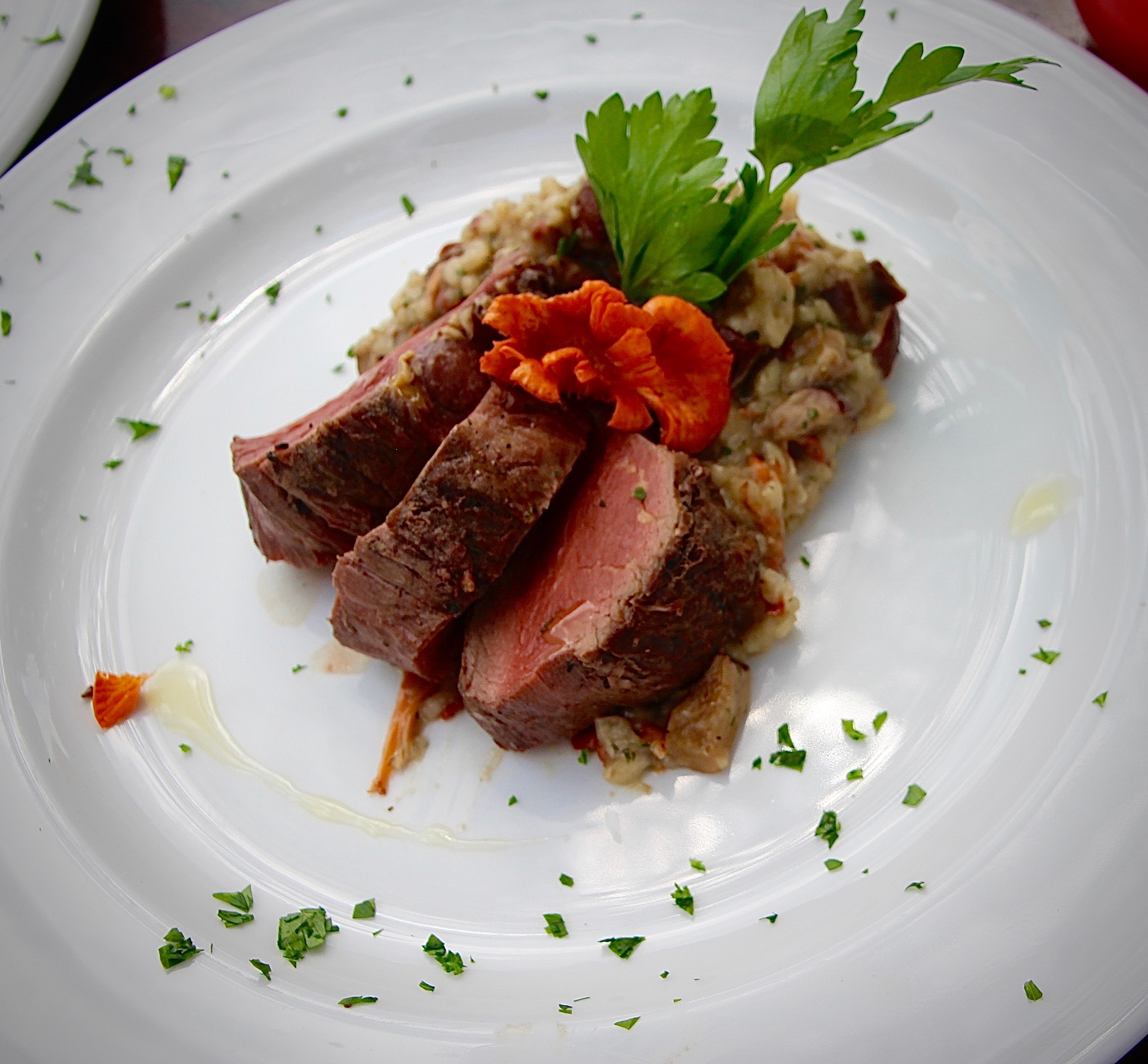 Beef Tenderloin with White Truffle oil, and Wild Mushroom Risotto.
