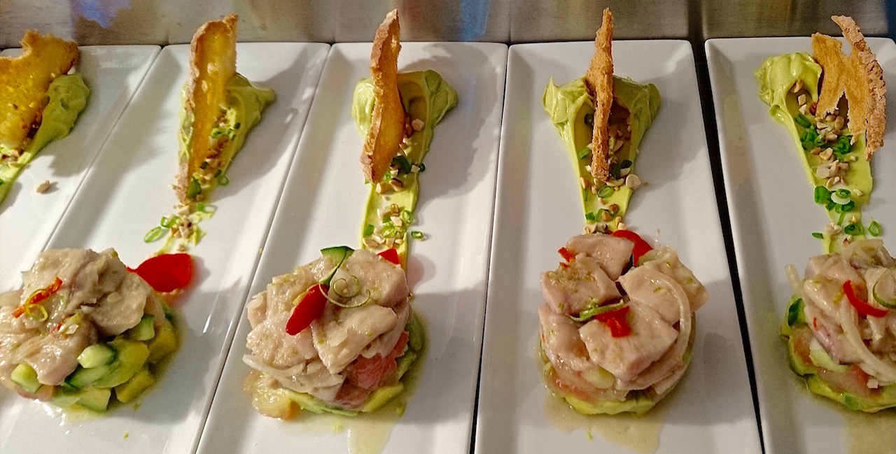 Thai-inspired Tilapia Ceviche with Avocado, Pomelo & Roasted Peanuts.