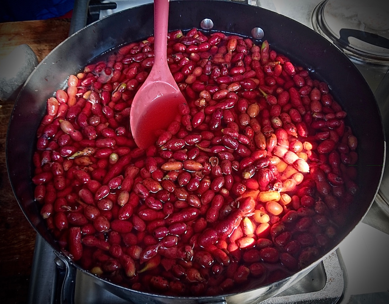 Making a fruit syrup out of the Muchingachinga fruit.