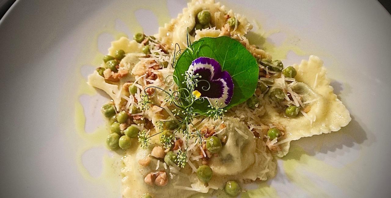 Mongongo Nut, Basil & Nasturtium Leaf Ravioli with Garden Peas & Lime-infused Beurre Noisette.
