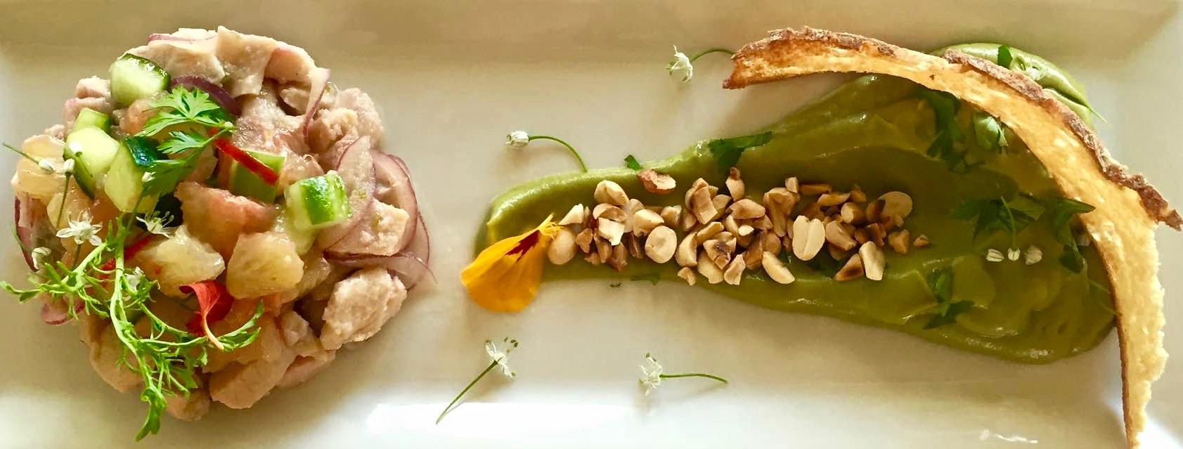Thai-inspired Tilapia Ceviche with Avocado, Pomelo & Roasted Peanuts.