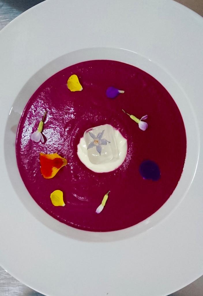 Thai-inspired Beetroot & Muchingachinga Soup with Coconut Milk.