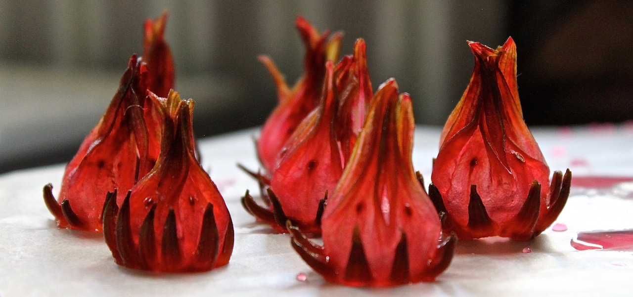 Candied sindambi, or wild hibiscus, calyxes, which we add to our Wild Kir Royale aperitif at The Elephant Café.